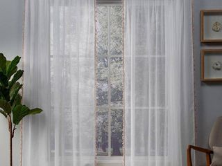 ATI Home Tassels Applique Sheer Rod Pocket Top Curtain Panel Pair 54 x 108 in Blush