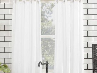 Archaeo Washed Cotton Twist Tab Kitchen Curtain Tier Pair   52 x 45