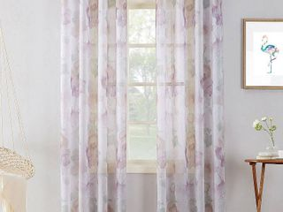 Andorra Crushed Voile Floral Watercolor Grommet Curtain Panel 51 x 84