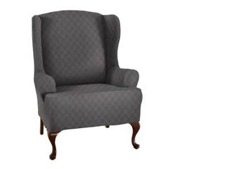 Stretch Sensations 1 Piece Stretch Newport Wing Chair Slipcover  Grey