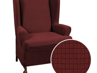 Zenna Home Small Rectangle Patterned 1 Piece Wing Chair Stretch Slipcover  Wine