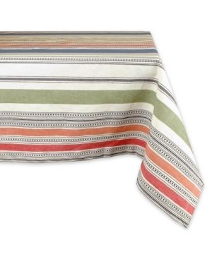 Design Imports Warm Stripe Kitchen Tablecloth  84  Wide x 60  long