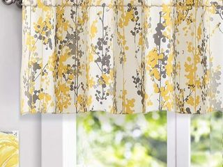 DriftAway leah Abstract Floral Blossom Ink Painting Window Curtain Valance  52 x18 2  header Yellow