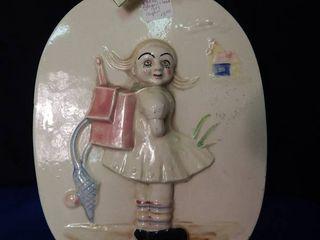 Vintage Glazed Crock Wall Hanging GIRl