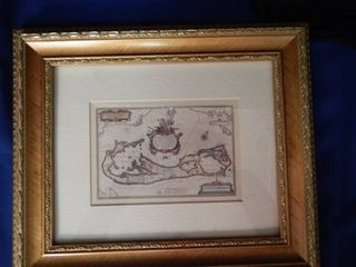 Vintage Map Matted in a 11x13 Gold Frame