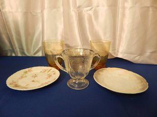 Tumblers  Saucers   Sugar Bowl