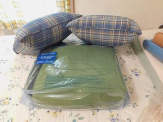 Pair of Throw Pillows and Full Size Blanket
