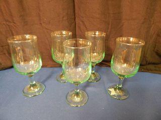 Set of 5 light Green Goblets