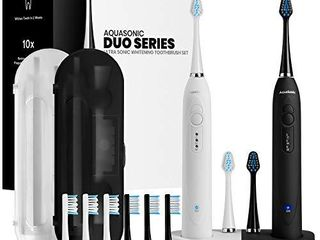 AquaSonic Duo Dual Handle Ultra Whitening 40 000 VPM Wireless Charging Electric ToothBrushes   3 Modes with Smart Timers   10 Dupont Brush Heads   2 Travel Cases Included