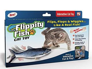 Ontel Flippity Fish Cat Toy  Flops and Wiggles like a Real Fish  Includes Fishing Pole and Catnip