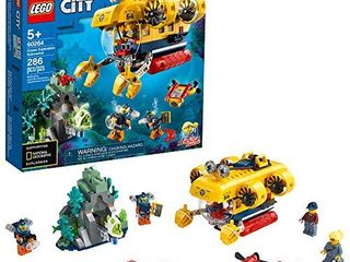 lEGO City Ocean Exploration Submarine 60264  with Toy Submarine  Coral Reef Setting  Underwater Drone  Glow in The Dark Anglerfish Figure and 4 Explorer Minifigures  New 2020  286 Pieces