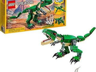 lEGO Creator Mighty Dinosaurs 31058 Build It Yourself Dinosaur Set  Create a Pterodactyl  Triceratops and T Rex Toy  174 Pieces