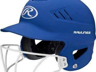 Rawlings Coolflo OSFM Softball Batting Helmet with Face Guard  Matte Royal