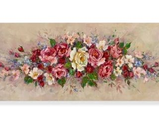 Tan Red Pink  Garland  Acrylic Painting Print on Wrapped Canvas RETAIl  140