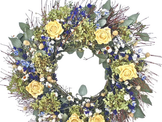 22  Yellow Rose and Hydrangea Wreath