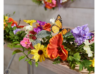 4  Garden Floral Garland with Monarch Butterflies