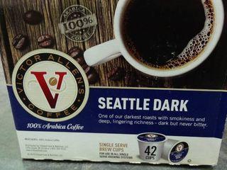 Box of Victor Allen s Seattle Dark Coffee Single Serve Brew Cups