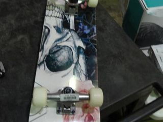 Skateboard with Skull and Flowers
