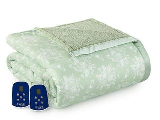 Shavel Reversible Micro Flannel to Sherpa Queen Electric Blanket Bedding