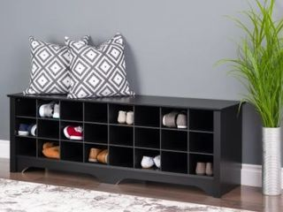 Prepackaged 24 Pair Shoe Storage Cubby Bench
