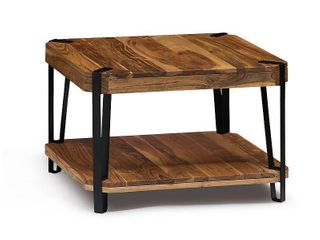 Ryegate Natural live Edge Solid Wood with Metal Cube Coffee Table  Retail 256 49