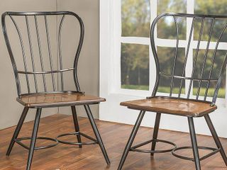 Baxton Studio longford Dark Walnut Wood  amp  Black Metal Vintage Industrial Dining Chair  Set of 2