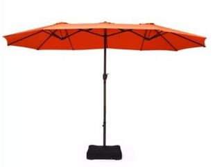 15 Ft Outdoor Double Sided Patio Market Umbrella with Base  Retail 254 99