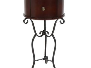 Wilson 1 Drawer Wood and Metal Round Side Table  Retail 76 48