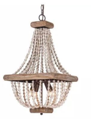 Regas 4 light Wood Bead Candle Style Chandelier  Retail 212 99