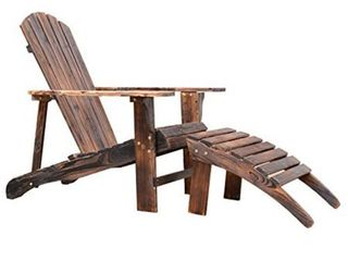 Outsunny Wooden Adirondack Outdoor Patio lounge Chair with Ottoman   Rustic Brown  Retail 123 99