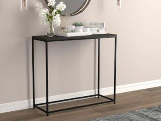 Console Table 31l Dark Grey Wood Black Metal