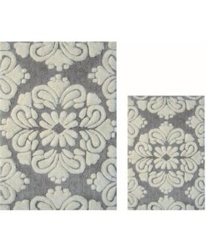 Better Trends Medallion Collection 2 Piece Set 100  Cotton Tufted Bath Mat Rug Set