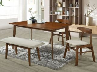 Hollencrest Walnut Mid Century Modern Dining Table   4 SEATER  Retail 249 99