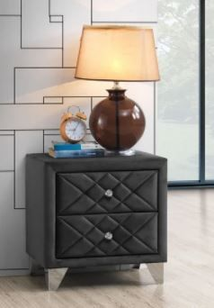 Vegas Velvet Quilted Nightstand  Retail 168 49  Missing Knobs