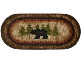 Cozy Cabin Birch Bear Nylon Washable lodge Rug