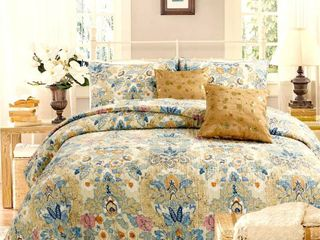 Cozy line Florabella Cotton Floral 3 piece Reversible King Quilt Set  Retail 85 49