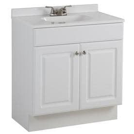 Project Source White Single Sink Vanity with White Cultured Marble Top  Common  30 in x 19 in  no faucet