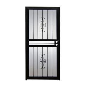 Gatehouse Resolute Black Steel Recessed Mount Single Door Security Door  Common  32 in x 80 in  Actual  31 in x 78 5 in