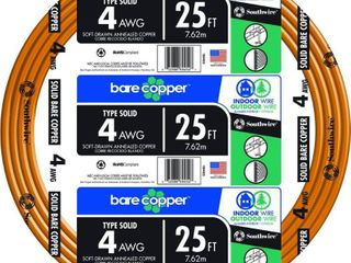 SOUTHWIRE 10644325 Building Wire Bare Copper 4 AWG 25ft