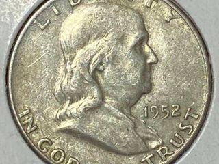 1952 D Ben Franklin Silver Half Dollar