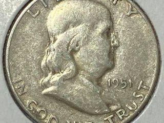 1951 S Ben Franklin Silver Half Dollar