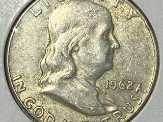 1962 O Ben Franklin Silver Half Dollar