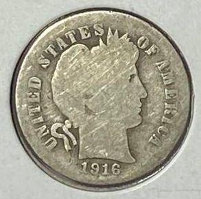 1916 P Barber Silver Dime