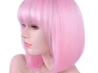 Annivia light Pink Short Bob Wig with Bangs for Women 12  Heat Resistant Synthetic Straight Wigs with Bangs Halloween Cosplay Party Wig Natural As Real Hair  light Pink