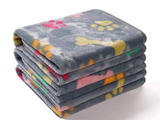 1 Pack 3 Blankets Super Soft Fluffy Cute Bone Pattern Pet Blanket Flannel Throw for Dog Puppy Cat light Grey large