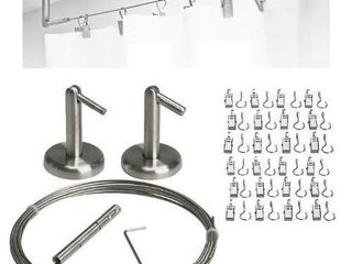 QQ OUTlET WirePro Curtain Wire Rod Set Stainless Steel  Multi Purpose  16 5  Wire  2 Mounting Pieces  24 Clips