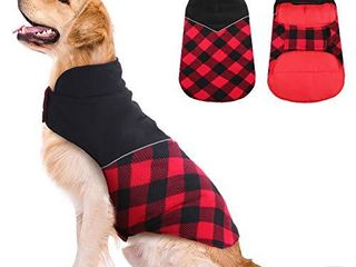 Kuoser Dog Winter Coat  Reflective Cold Weather Dog Jacket  Reversible British Style Plaid Dog Coat Warm Cotton Thickened Vest Windproof Outdoor Apparel Blues