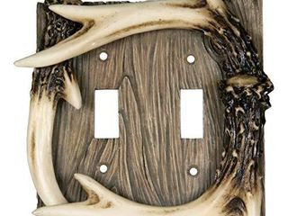 River s Edge Products Electrical Cover Plate Switch Double   Antler  Fits 2 Standard light Switches  Screws Included