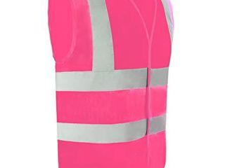 Safety Vest Reflective stripes Safety knitted Vest Bright Construction Workwear for men and women   Medium  pink