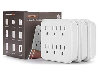 3 Pack  BESTTEN 6 Outlet Wall Adapter  15A 125V 1875W  White